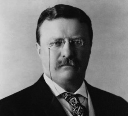 Theodore Roosevelt wearing pince nez glasses